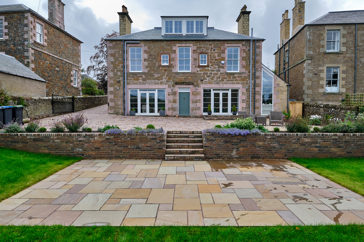Driveway, patio, walling, steps and landscaping designed and installed by Stow Construction & Landscaping Marshalls Tegula Drivesett Traditional Harvest mix Fairstone Harena Riven Autumn Bronze Tegula walling Traditional steps landscaping paving monoblocking block paving Melrose Scottish Borders